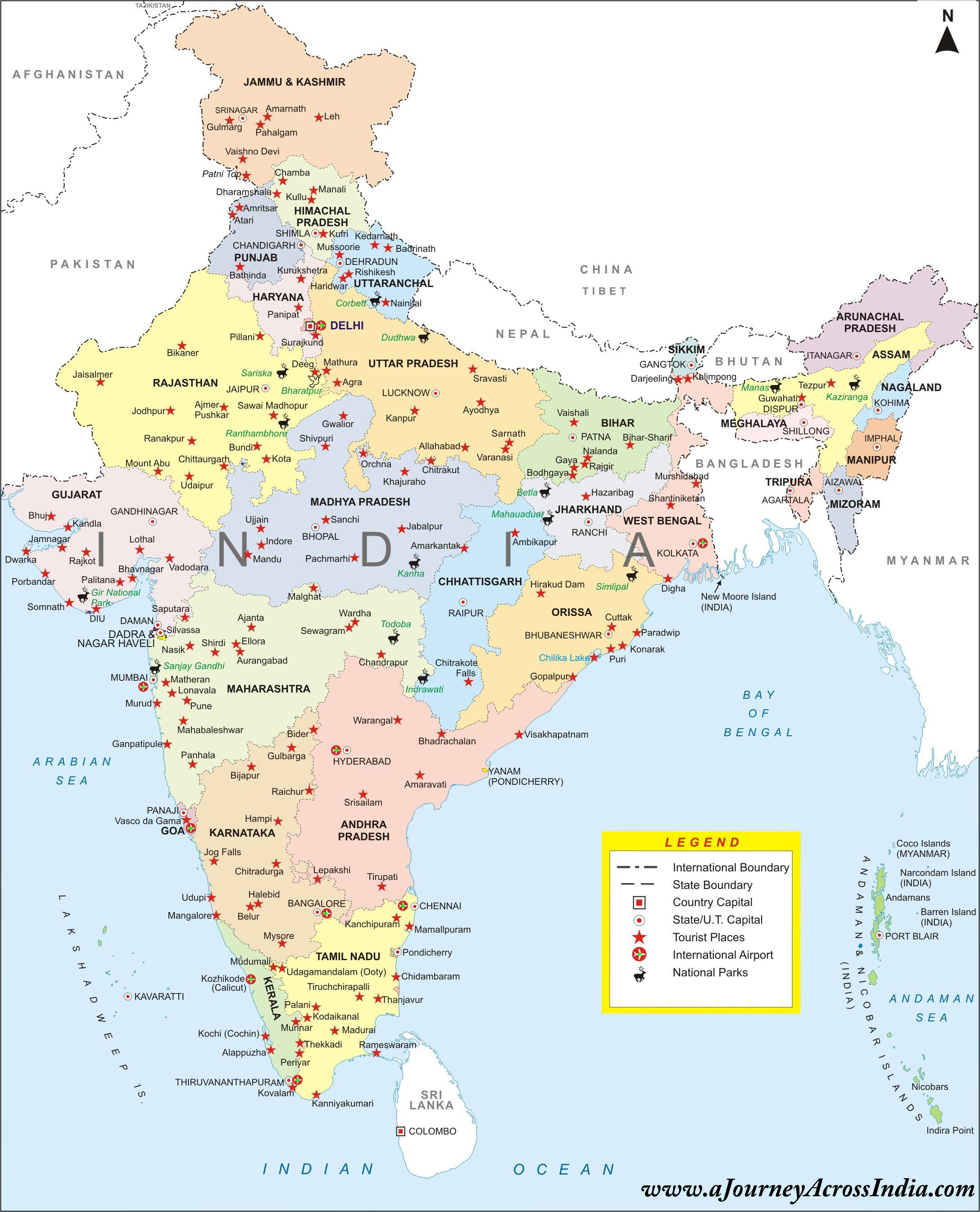 High Resolution Map of India